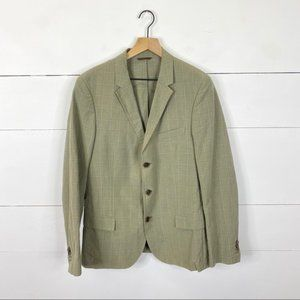 Hugo Boss Plaid Linen Blend Blazer Size 48R